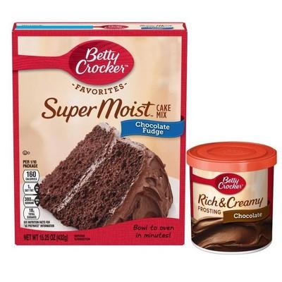 Betty Crocker Super Moist Chocolate Fudge Mix & Chocolate Frosting Bundle - 15.25oz