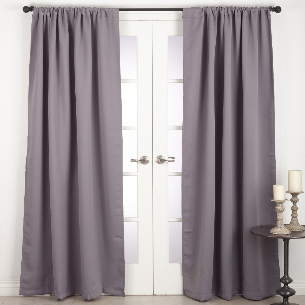 Blackout Gray Solid Curtain Panels - Saro Lifestyle