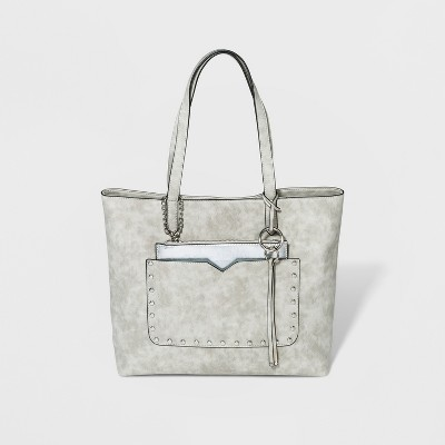 cb1f1b877ad7 VR By Violet Ray Studded Tote Handbag With Removable Wristlet And O-Ring  Hangoff - Light Gray   Target