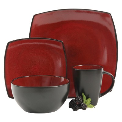 Gibson Tocata Lounge 16pc Dinnerware Set Red