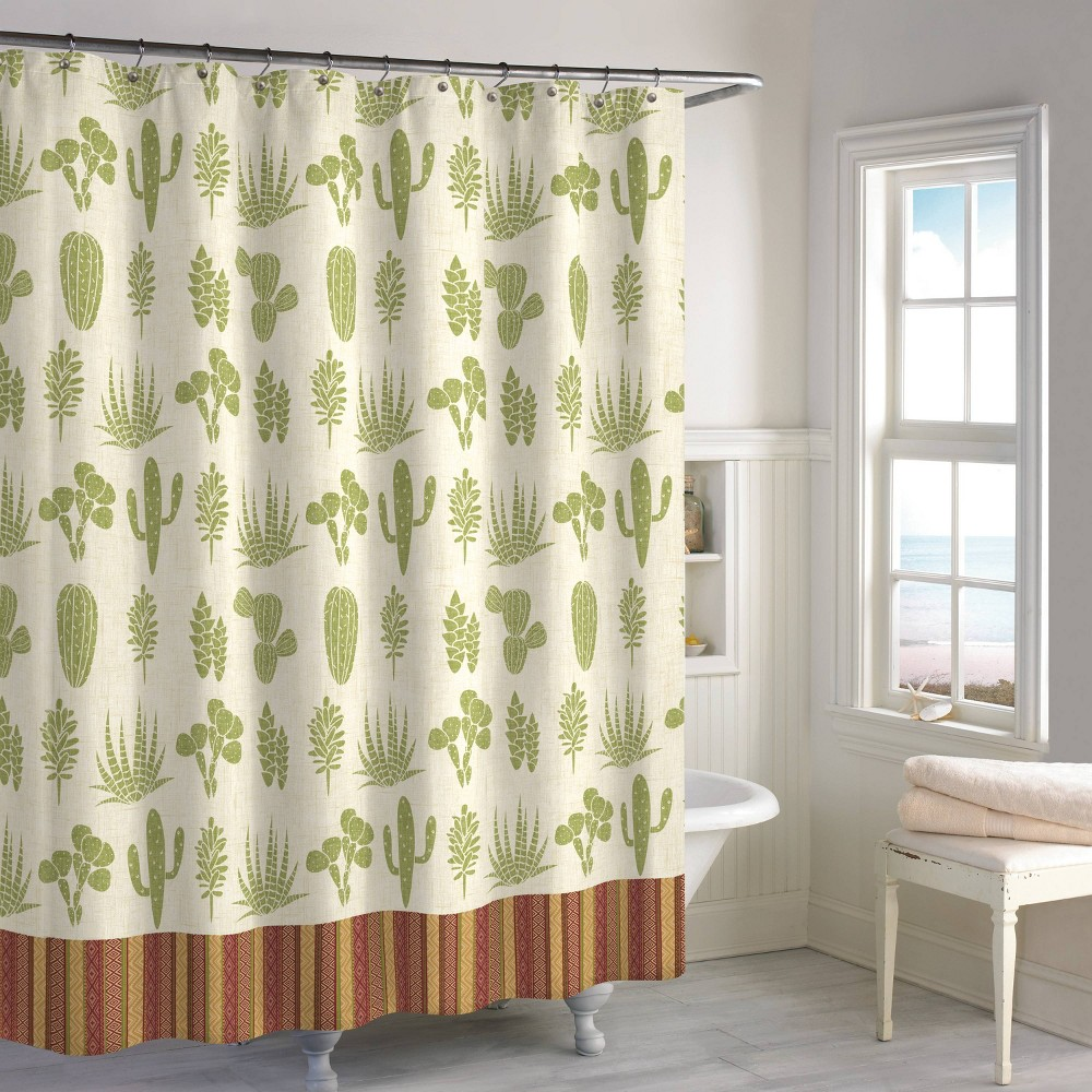 Image of Cactus Shower Curtain Olive - Destinations