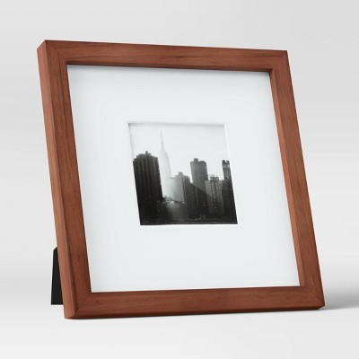 "8"" x 8"" Matted to 4"" x 4"" Table Top Mid-Tone Wood Picture Frame Art Brown - Project 62™"