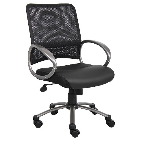 Mesh Back with Pewter Finish Task Chair Black - Boss Office Products - image 1 of 3
