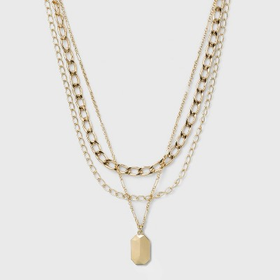 3 Row Chunky Chain Necklace - A New Day™ Gold