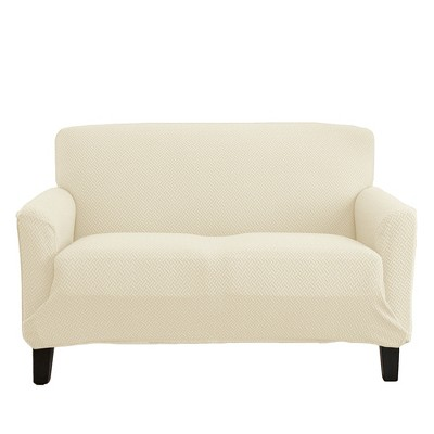 Great Bay Home 1-Piece Jenga Knitted Jacquard Stretch Love Seat Slipcover