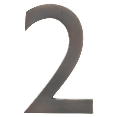 """Architectural Mailbox 4"""" Cast Floating House Number 2 Dark Copper"""