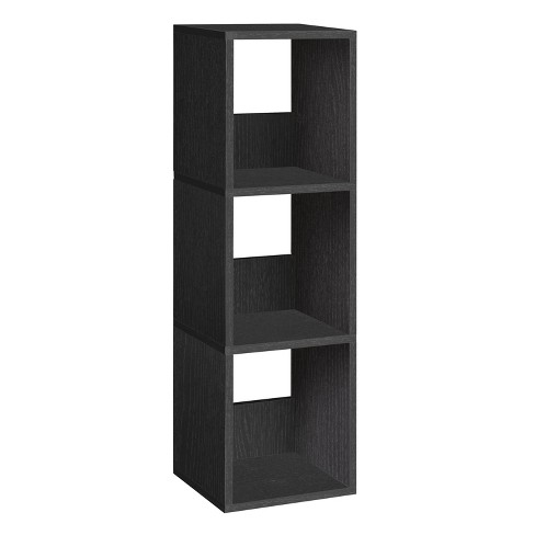 Way Basics 3-Shelf Duo Narrow Bookcase - Eco Storage Shelf, Black - Formaldehyde Free - Lifetime Guarantee - image 1 of 6
