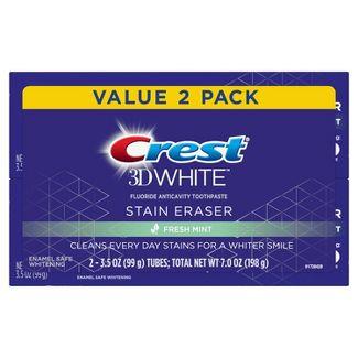 Crest 3D White Stain Eraser Fresh Mint Whitening Toothpaste - 3.5oz/2pk