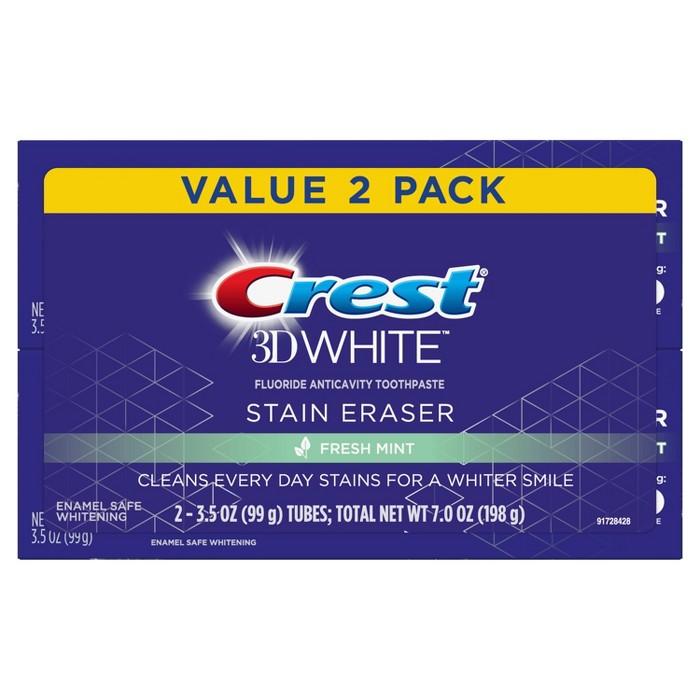 Crest 3D White Stain Eraser Fresh Mint Whitening Toothpaste - 3.5oz : Target