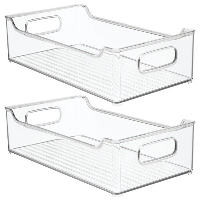mDesign Plastic Kitchen Pantry Cabinet Food Storage Bin, 2 Pack - Clear