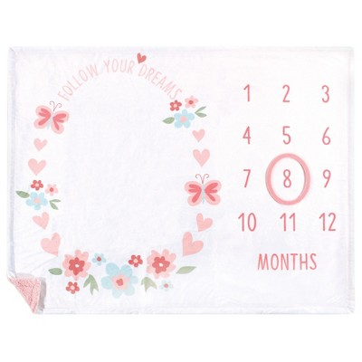 Hudson Baby Infant Girl Plush Holiday and Milestone Blanket, Follow Your Dreams, One Size