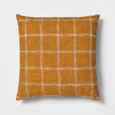 Woven Grid Square Throw Pillow Gold - Threshold™