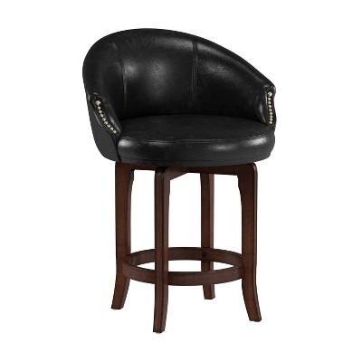 "25"" Dartford Swivel Counter Height Barstool Brown/Black - Hillsdale Furniture"
