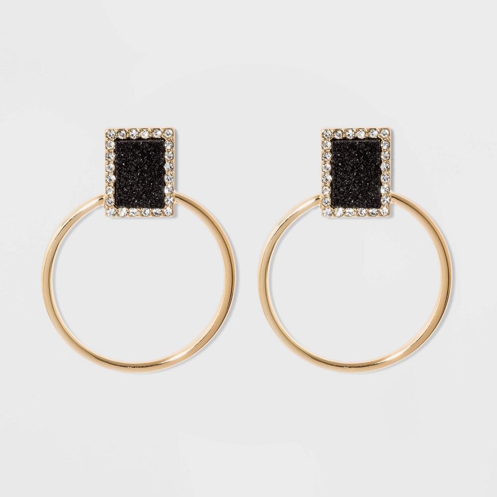 Sugarfix by BaubleBar Crystal Druzy Hoop Earrings - Black, Women's