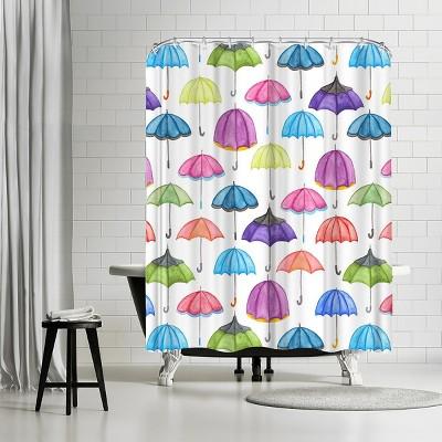 "Americanflat Umbrellas by Elena Oneill 71"" x 74"" Shower Curtain"
