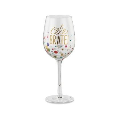 DEMDACO Celebrate Wine Glass 12 ounce - Multi