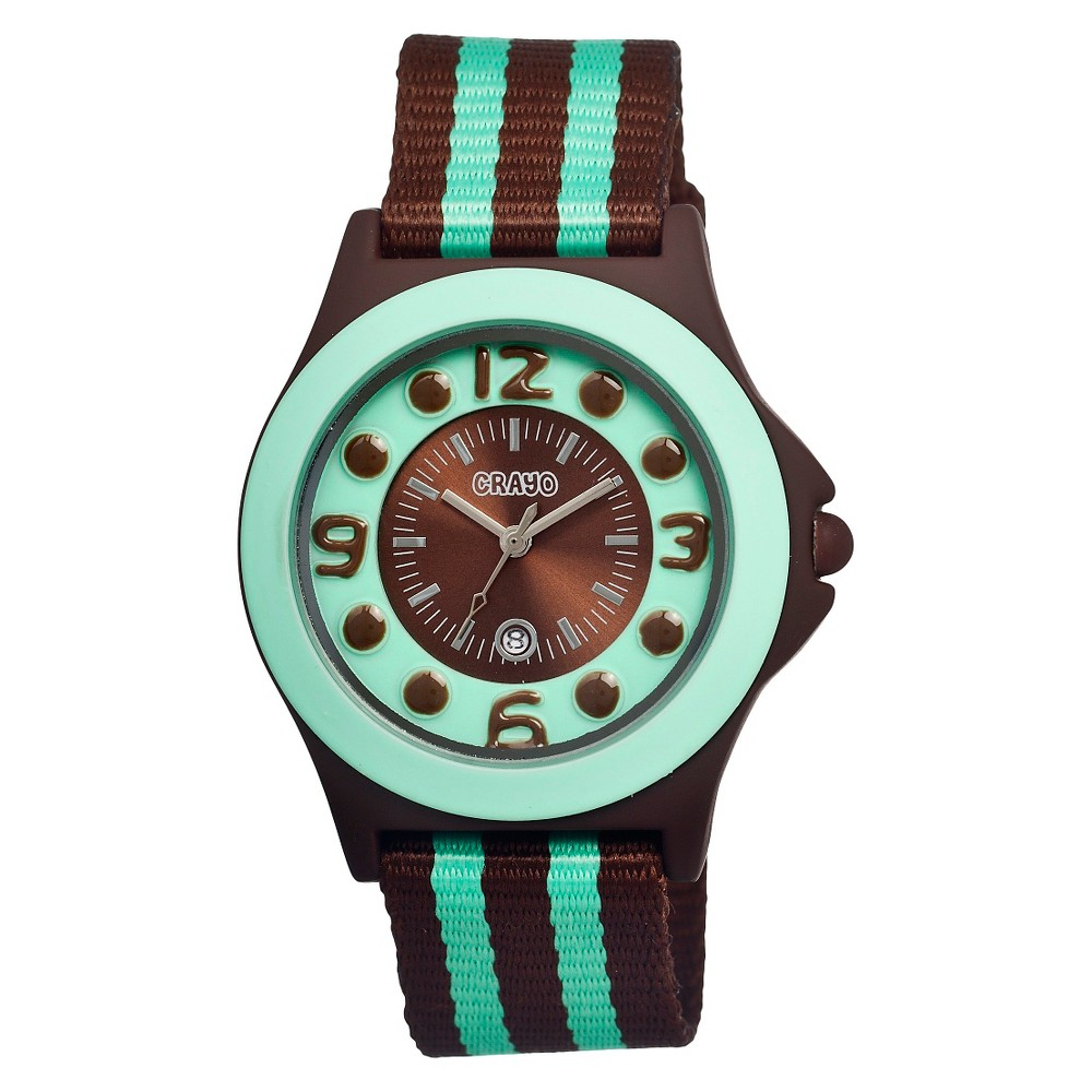 Women's Crayo Carnival Watch with Date Display and Two-Tone Nylon Strap-Brown/Mint, Brown