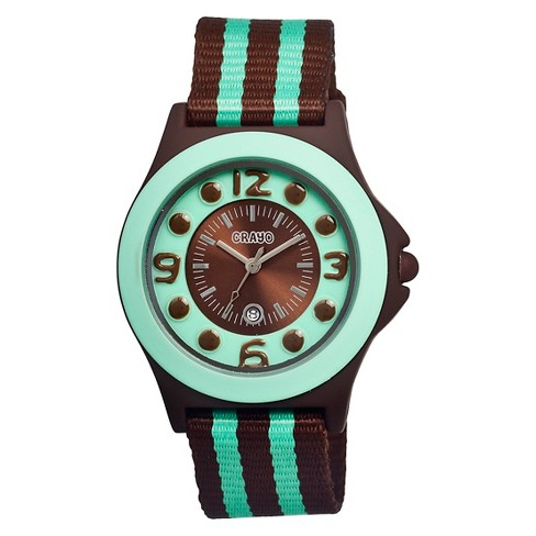 Women's Crayo Carnival Watch with Date Display and Two-Tone Nylon Strap-Brown/Mint - image 1 of 3