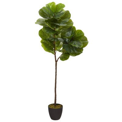 """59"""" Artificial Fiddle Leaf Tree in Planter - Nearly Natural"""
