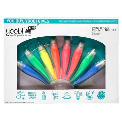 Neon Paint Brush Pen & Stencil Set 16pc - Yoobi™ - image 1 of 4
