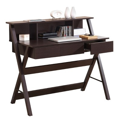 Writing Desk with Storage Wenge Brown - Techni Mobili