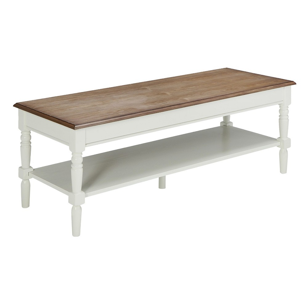 French Country Coffee Table - Driftwood / White - Johar Furniture