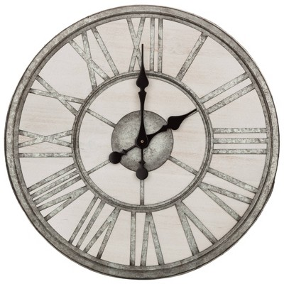 """20"""" Rustic Wood and Galvanized Metal Roman Numerical Wall Clock - Patton Wall Decor"""