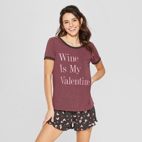 a1876bbbd15a Weekend Soul Women s Wine Is My Valentine Pajama Set - Burgundy XL ...