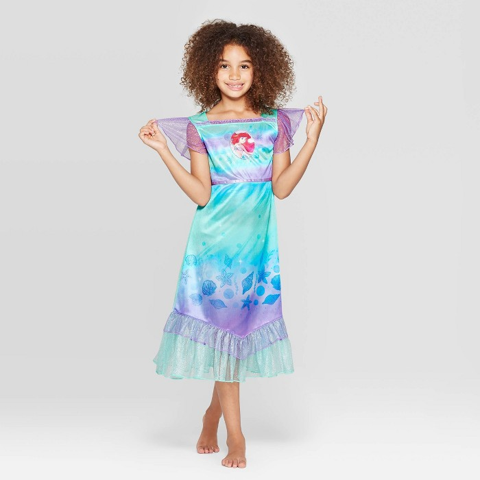 Girls' The Little Mermaid Fantasy Nightgown - Blue - image 1 of 3