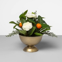 "9"" x 7"" Artificial Citrus Plant with Flowers in Metallic Bowl Green/White/Orange  - Opalhouse™"