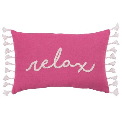 Transpac Fabric 15 in. Pink Spring Lumbar Relax Color Block Pillow