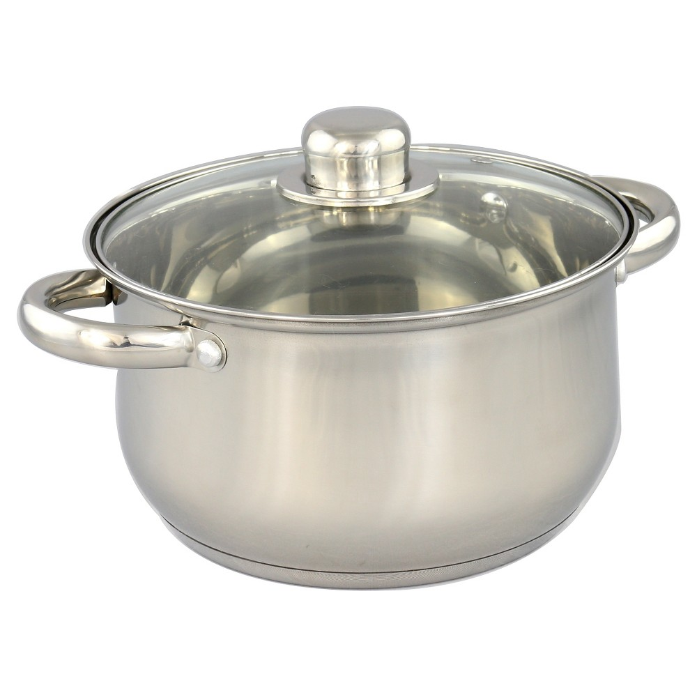 Image of Gourmet Chef 8qt Stainless Steel Stock Pot with Glass Lid