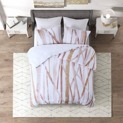 Jorja Cotton Metallic Printed Comforter Set - CosmoLiving by Cosmopolitan