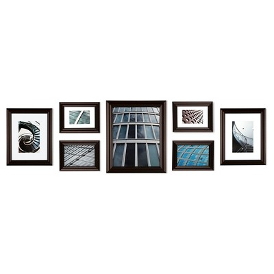 Gallery Perfect 7 Piece Multi-Size Wall Frame Set - Walnut