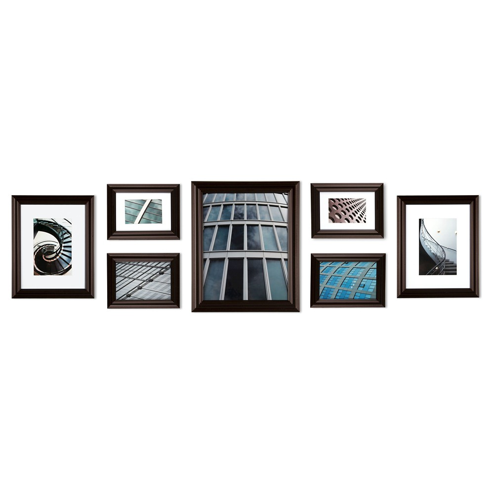 Image of Gallery Perfect 7 Piece Multi-Size Wall Frame Set - Walnut