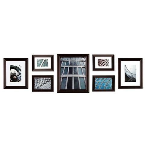 Gallery Perfect 7 Piece Multi Size Wall Frame Set Walnut