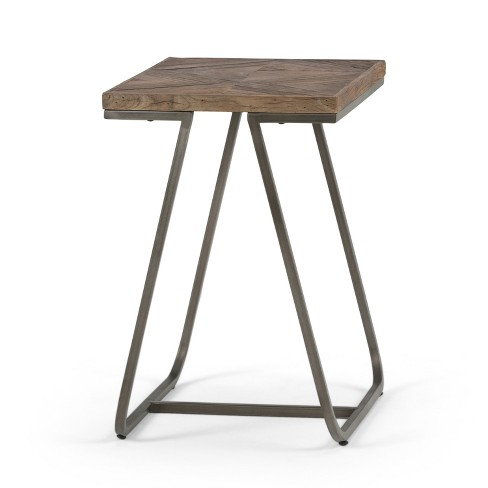 Camilla Solid Aged Elm Wood Narrow End Table Distressed Java Brown Wood Inlay - Wyndenhall - image 1 of 9