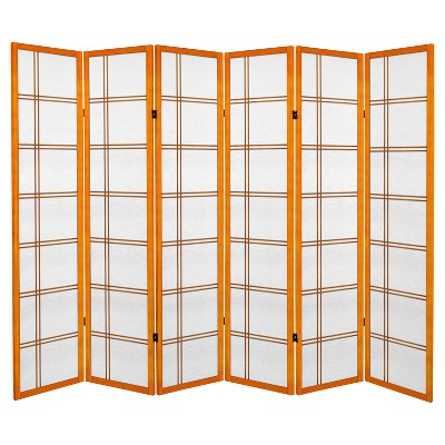 6 ft. Tall Canvas Double Cross Room Divider - Honey (6 Panels)