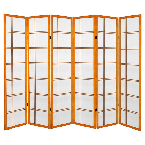 6 ft. Tall Canvas Double Cross Room Divider - Honey (6 Panels) - image 1 of 1