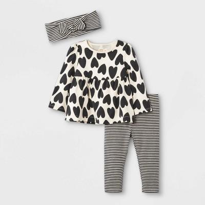 Baby Girls' 3pc Striped Tunic Top & Leggings Set with Headband - Cat & Jack™ White Sand Newborn