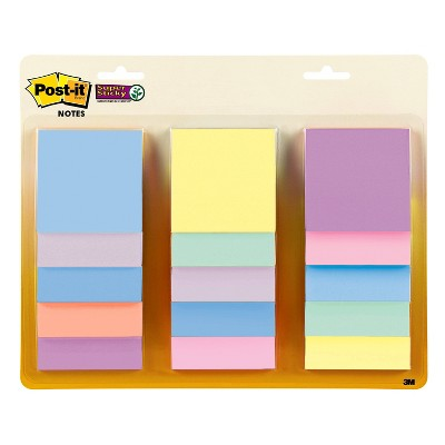 """Post-it 15pk 3"""" Super Sticky Notes 45 Sheets/Pad - Pastel"""