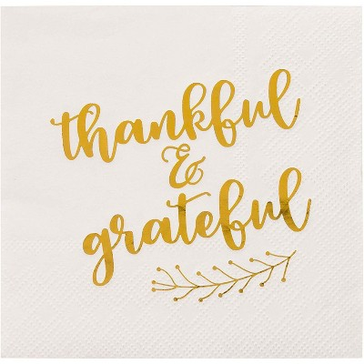 Blue Panda 50-Pack Thankful & Grateful in Gold Foil Thanksgiving Paper Cocktail Napkins Fall Party Supplies