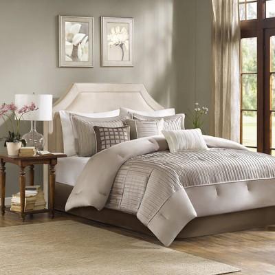 Taupe Vargas Comforter Set Queen 7pc