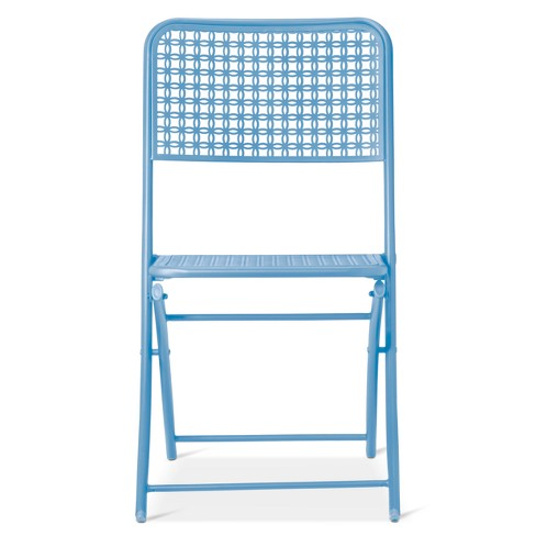 Incredible Metal Punch Folding Patio Bistro Chair Blue Threshold Bralicious Painted Fabric Chair Ideas Braliciousco