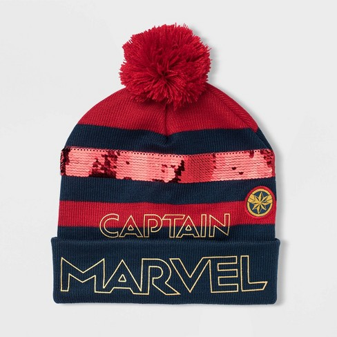 Kids' Captain Marvel Beanie - Red One Size - image 1 of 1