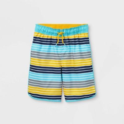 Boys' Thin Striped Swim Trunks - Cat & Jack™ Blue/Yellow