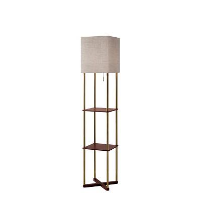 "62.25"" Harrison Shelf Floor Lamp Brass - Adesso"
