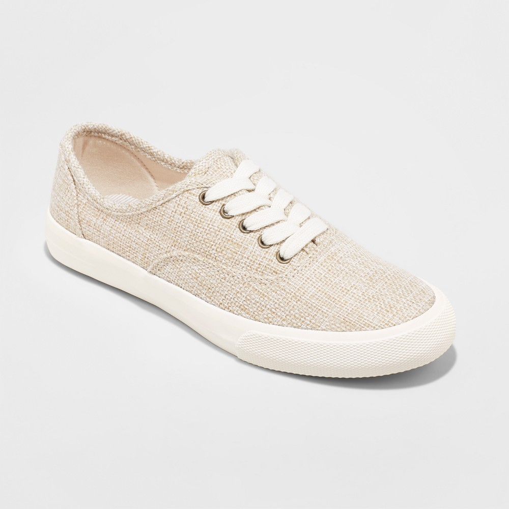 Women's Savannah Raffia Sneakers Lace up - A New Day Tan 7, Size: Small, Beige