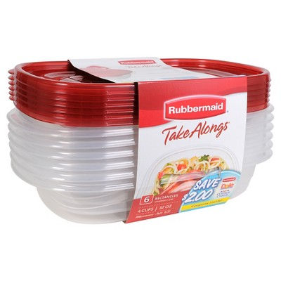 Rubbermaid TakeAlongs Food Storage Rectangle Containers - 6ct