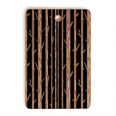 Lisa Argyropoulos Modern Trees Black Cutting Board Rectangle - Deny Designs